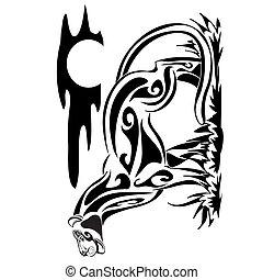 image., animal., ábra, print., hegy, jelvény, african leopárd, szüret, metszés, vad, póló, húzott, tetovál, mód, kéz, embléma, klasszikus, lion., coguar, fauna., zoo., tervezés, macska, puma