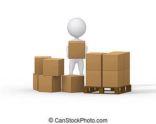 image., emberek, boxes., szállítás, kicsi, kartonpapír, 3