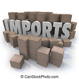 import áruk, kereskedelem, dobozok, raktárépület, nemzetközi, kartonpapír
