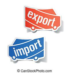 import, elnevezés, export