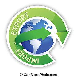 import, földgolyó, export, ábra, biciklizik