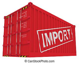 import, konténer, rakomány