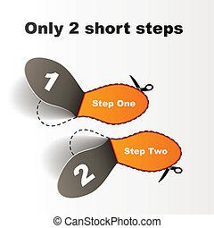 impresszum, vektor, lépések, rövid