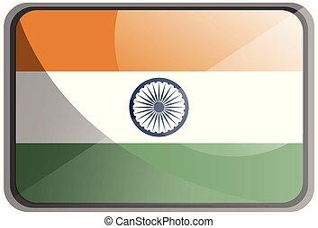 india, ábra, háttér., lobogó, vektor, fehér