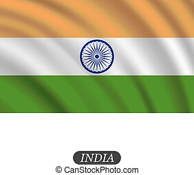 india, ábra, hullámzás, háttér., lobogó, vektor, fehér