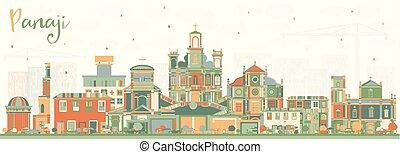 india, épület., panaji, szín, láthatár, város