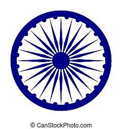 india, depicted, embléma, flag.