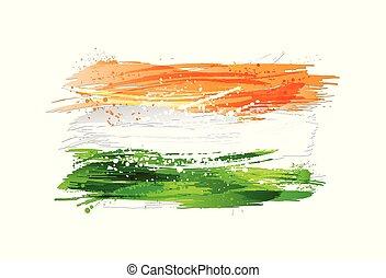 india, festék, színes, grunge, lobogó, texture., fehér, elszigetelt, smears, háttér., elkészített, loccsan