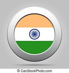 india, gombol, fém, lobogó