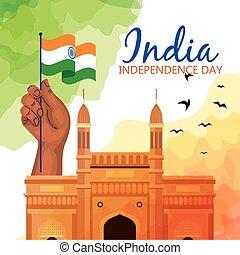 india, háttér, kéz, boldog, híres, szabadság emlékmű, lobogó, nap