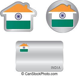 india, ikon, flag., otthon