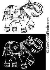 indiai, ünnepies, jellegzetes, elefánt