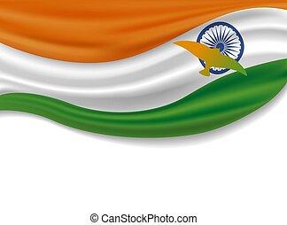 indiai, augusztus, india, ábra, nap, lobogó, vektor, tervezés, 15, háttér, fehér, madarak, szabadság
