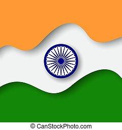 indiai, dolgozat, style., hazafias, elvág, ünnep, ábra, elvont, flag., háttér., vektor, transzparens, grafikus, pattern., design., kreatív, india., kártya, háttér, lobogó lenget