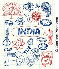 indiai, gyűjtés, jelkép, akol, vektor, húzott, doodles