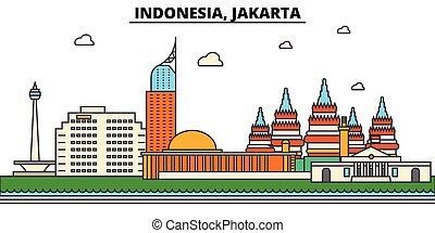 indonézia, utcák, állhatatos, panoráma, épületek, építészet, strokes., landmarks., elszigetelt, tervezés, város, táj, ikonok, concept., árnykép, lakás, editable, ábra, egyenes, jakarta., láthatár, vektor