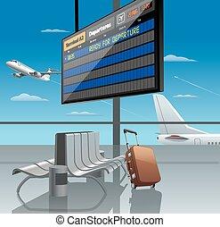 indulás, repülőtér