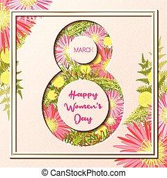 induló, színes, köszönés, women's, floral 8, nap, kártya, boldog