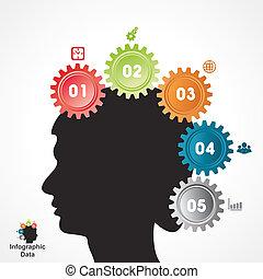 info-graphics, fogaskerék-áttétel, kreatív, transzparens