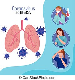 infographic, 2019, tüdő, beteg, ncov, emberek, coronavirus