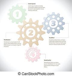 infographic, cogwheels, sablon
