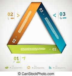 infographic, dolgozat, háromszög, sablon