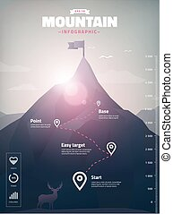 infographic, hegy csúcs, ábra, poligon