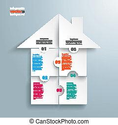 infographic, körök, rejtvény, épület