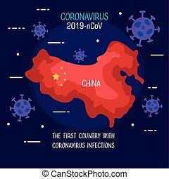 infographic, térkép, 2019, coronavirus, ncov, particles, kína