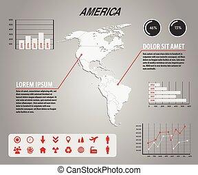 infographic, térkép, amerika, -, ikonok