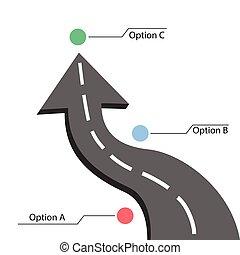 infographic, tervezés, út, nyíl