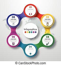infographic, tervezés, színezett