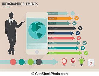 infographic, touchscreen, színes, kiállítás, -, ábra, dolgozat, vektor, tervezés, sablon, infographics, eszköz, üzletember, sablon