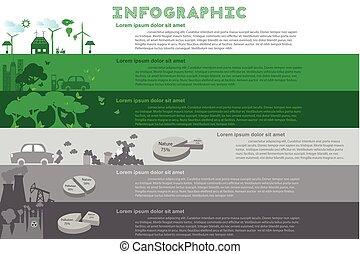 infographic, város, állhatatos, illustration., elements., táblázatok, vektor, zöld, más