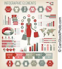 infographics., bevásárlás, vector.