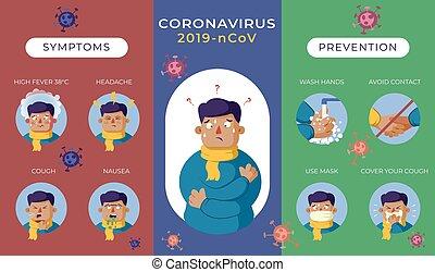 infographics, multi-coloring, megelőzés, vírus, structure., tünetek, covid-19, bekezdések