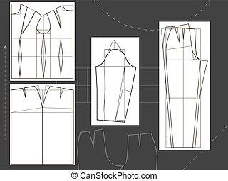 ing, öltözet, dél, tervezés, alj, nadrág