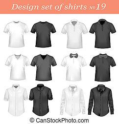 ing, férfiak, póló, fekete, fehér