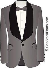 ing, szürke, íj, black öltöny, csomó, fehér