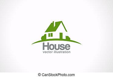 ingatlan tulajdon, épület, elvont, countryside., telek, jel, icon.