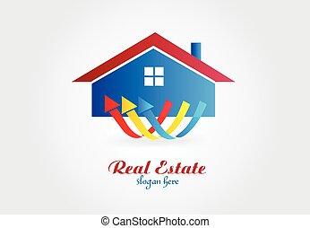 ingatlan tulajdon, épület, vektor, tervezés, jel