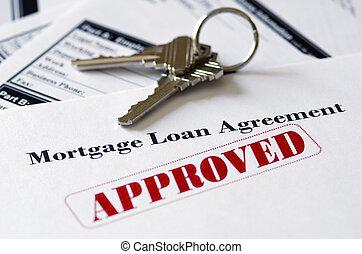 ingatlan tulajdon, betáblázás kölcsönad, dokumentum, jóváhagyott