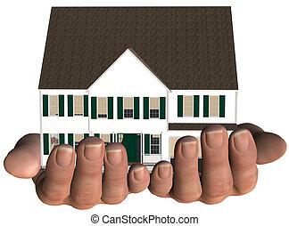 ingatlan tulajdon, kínálat, épület, kézbesít, otthon