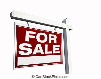 ingatlan tulajdon, vásár cégtábla, white piros