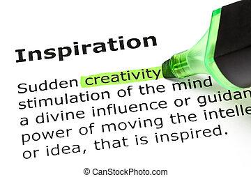 'inspiration', kijelölt, 'creativity', alatt