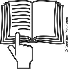 (instruction, jelkép, kézikönyv, könyv, vektor, icon)