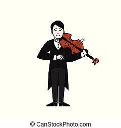 instruments., áttekintés, betű, játék, hegedűművész, játékos, ember, hegedű, music., zenés, musican