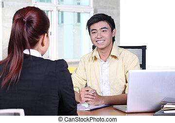 interjú, munka, asian ügy, ember