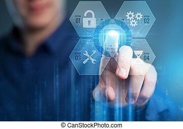 internet technology, fogalom, fiatal, tényleges, dolgozó, vállalkozó, jövő, ügy, ellenző, network.