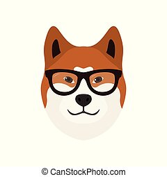 inu, akita, vektor, illustration., kutya